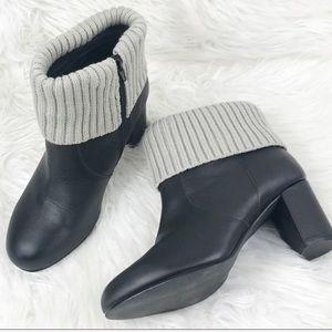 Torrid Leather Black Bootie Knit Gray Top 10W